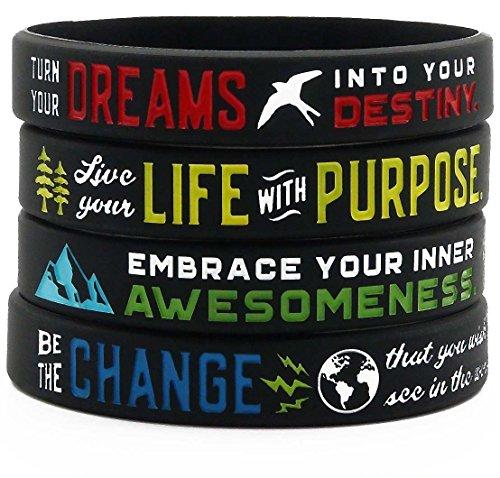 - Positive Message Bracelets (Set of 4) - Inspirational Motivational Jewelry for Men Women Teens