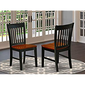 East West Furniture NFC-BLK-W Norfolk kitchen chairs – Wooden Seat and Black Solid wood Structure wooden dining chair set of 2