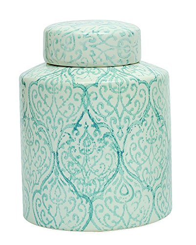 Creative Co-op Blue & White Decorative Ceramic Ginger Jar with Lid
