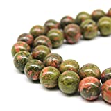 JARTC Natural Stone Beads Unakite Round Loose Spacer Beads 15'' 4m 6m 8m 10mm 12m For Jewelry Making (4mm)
