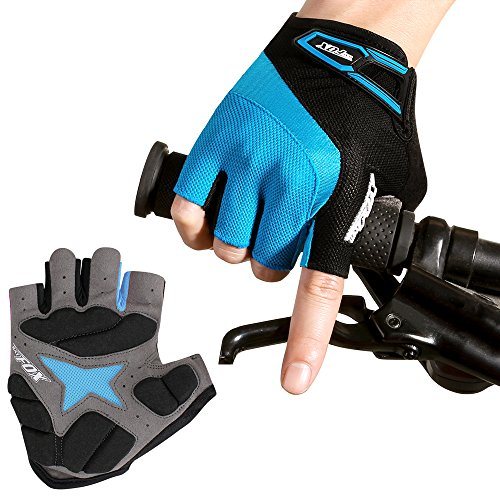 Batfox Mountain Road Cycling Gloves Half Finger Fingerless for Men Women Gel Padded Comfortable Leather Breathable Great Fit (531 Blue, L(Palm width (Mesh Terry Gloves)