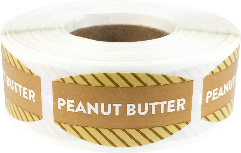 Peanut Butter Grocery Store Food Labels .75 x 1.375 Inch Oval Shape 500 Total Adhesive Stickers