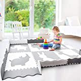 Baby Play Mat with Fence | Large 5' x 7' Foam Puzzle Mat | Neutral Playroom Mat or Nursery Rug | Non Toxic Baby Playmat for Infants, Toddlers and Kids | Grey and White | Safari