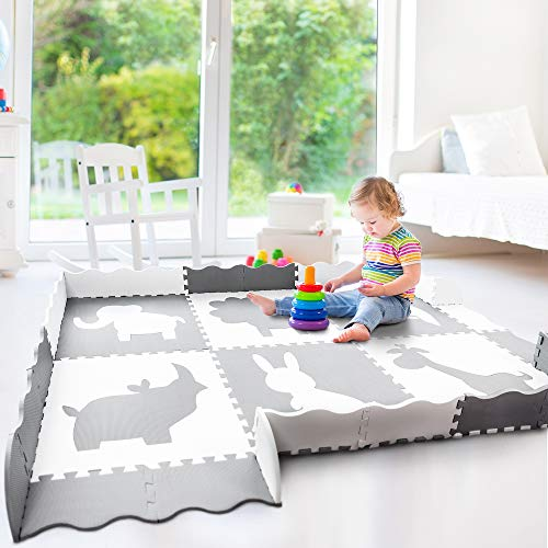 Baby Play Mat with Fence | Large 5' x 7' | Thick Interlocking Foam Floor Tiles for Playroom or Nursery | Neutral, Non Toxic Baby Playmat for Infants, Toddlers and Kids | Grey and White