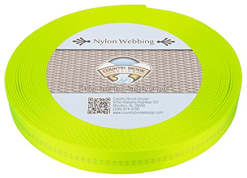 Country Brook Design 1 Inch Hot Yellow Climbing Spec Tubular Nylon Webbing, 1. ()