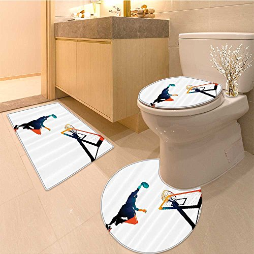 3 Piece Bath mat set Collection Icons and Symbols with Wings Flaming Bal Shoes Ring Trophy Cup Design Pat Bathroom Rugs Contour Mat Lid Toilet Cover