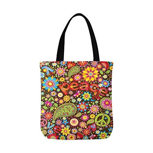- InterestPrint Women's Canvas Shoulder HandBag Foldable Tote Bag Funny Hippie Peace Sign Paisley Flowers