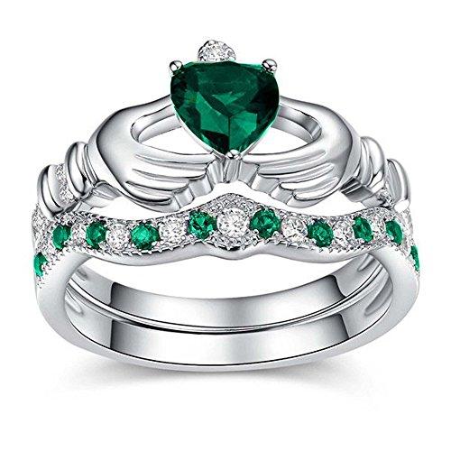 (Silver Gems Factory 14K White Gold Plated 1.00ct Created Heart Shape Emerald & Round White CZ Engagement Claddagh Ring Set)