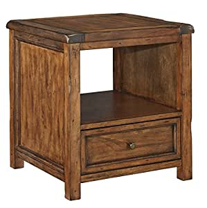 Ashley T830-2 Tamonie Square End Table with Simple Pulls Molding Detail and Distressed Detailing in Medium