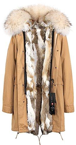 invierno piel Gris conejo mujer pelaje Amarillo de de Forro de Blanco amp; capucha con S ROMZA Cuello abrigo extraíble de mapache extraíble ZwpXXR