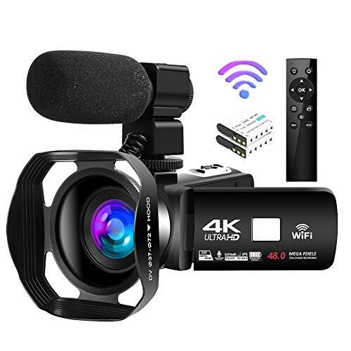 Videocamara 4K Cámara de Video de 48MP 18X Cámara de Vlogging WiFi Cámara de Visión Nocturna por Infrarrojos Videocámara…