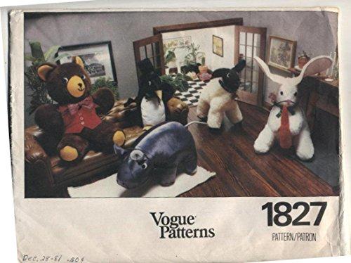 Vtg Vogue Stuffed Animals Hippo, Lamb, Bunny, Bear, Penguin Sewing Pattern -