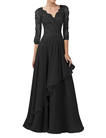 504a8ee3e4 Mother of The Bride Dress V Neck Mother Dresses Long Evening Gown Black 2