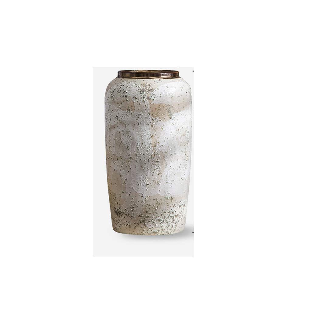 日本の陶製の花瓶装飾手作りの白い石器の花瓶 QYSZYG (Size : High34CM) B07RB4SG3Z  High34CM