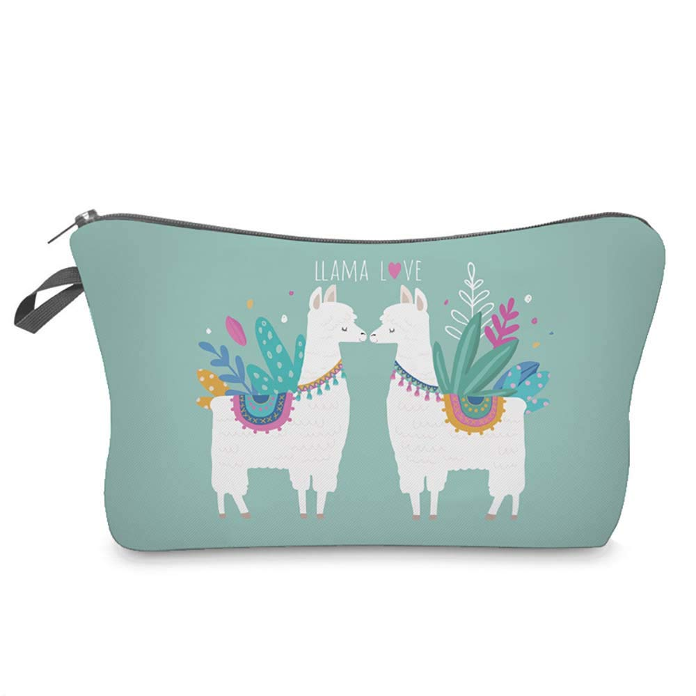 LiPing Women Letters Printing Handy Bag Travel Cosmetic Clutch Bag Makeup Case Pouch Toiletry Wash Organizer for Travel Toiletry Beauty Bag for Women (E)