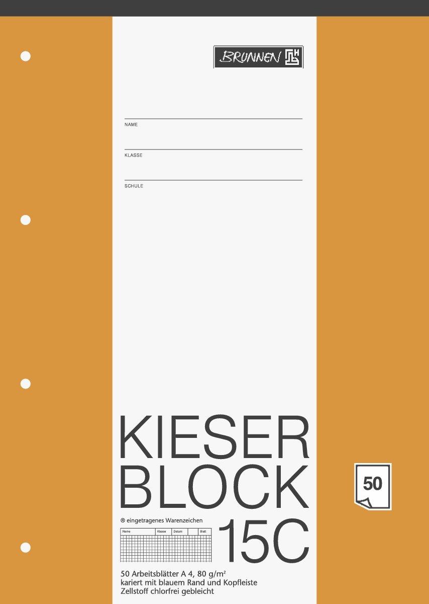 Arbeitsblock Kieser Lin 15 A4//50 chlorfrei 5 mm kariert