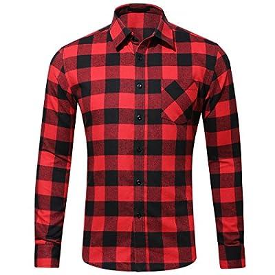 WULFUL Men's Long Sleeve Plaid Regular Fit Button Shirt Flannel Casual Work Dress Shirt
