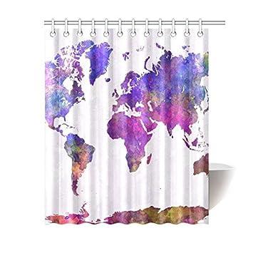 Amazon Com Tesdfk World Map In Watercolor Custom Shower Curtain