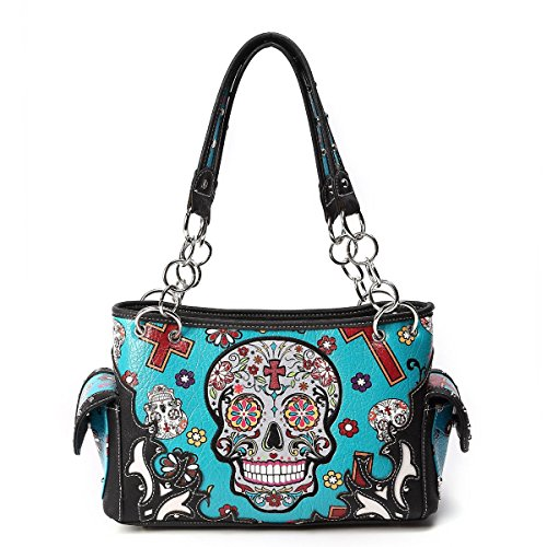 Sugar Skull Purse with Concealed Carry Pocket Day of The Dead Handbag, Teal]()