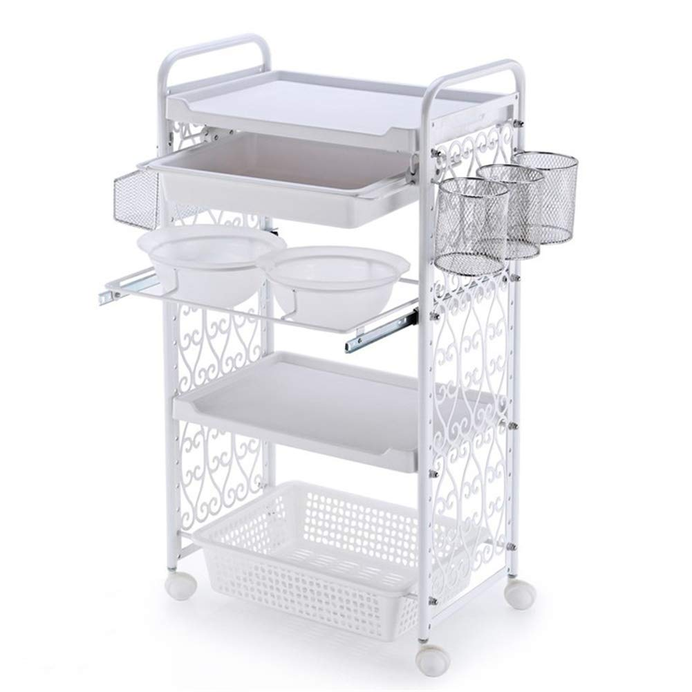 Rolling Wheel White Hair Color Bowl Tool Organizer Storage Tray and 4 Tier Beauty Cart SPA Salon Trolley Hairdress by Ktzhk
