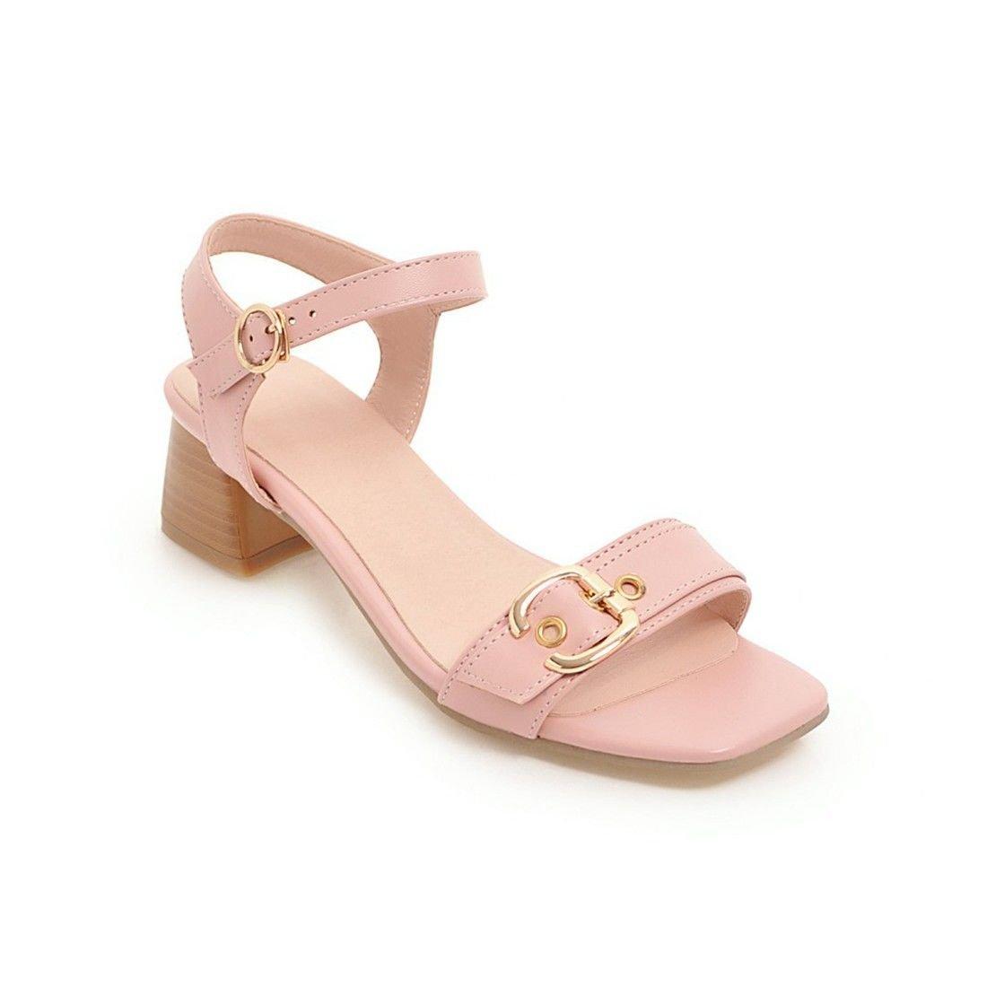 AIKAKA Damenschuhe Fruuml;hling Sommer Groszlig;e Grouml;szlig;e Raue Ferse Sandalen  41 EU|Pink