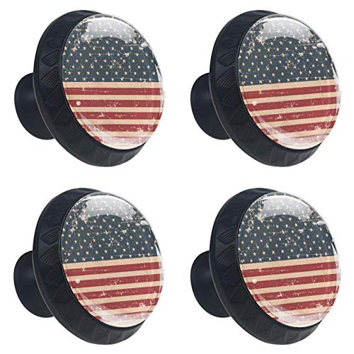 (LORVIES Patriotic American Flag Grunge Background Drawer Knob Pull Handle Crystal Glass Circle Shape Cabinet Drawer Pulls Cupboard Knobs with Screws for Home Office Cabinet Cupboard (4 Pieces) )