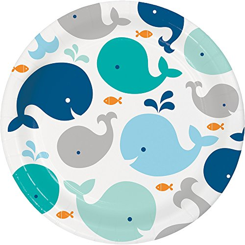 Creative Converting 322200 96 Count Sturdy Style Dinner/Large Paper Plates, Lil' Spout Blue ()