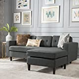 Windsor Living Room | 2 Piece Chaise Sectional Sofa | Scandinavian, Mid Century Design | Dark Grey Fabric