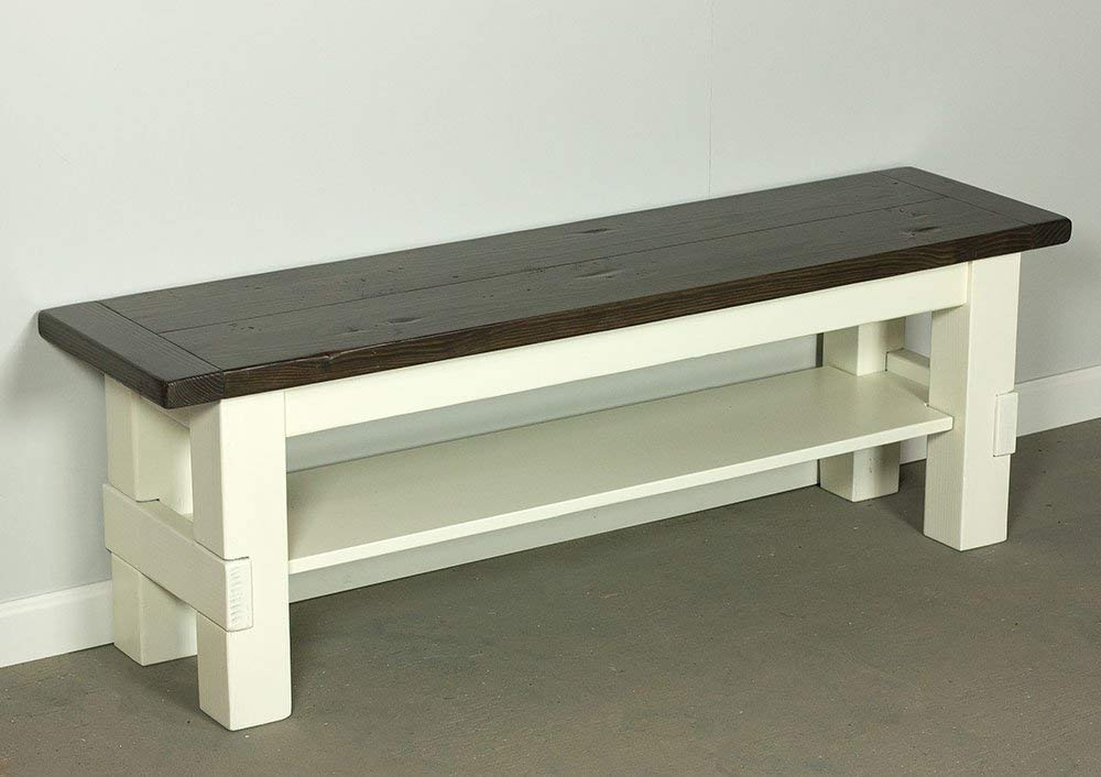 Super Amazon Com Two Tone Storage Bench Farmhouse Bench With Machost Co Dining Chair Design Ideas Machostcouk