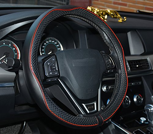 rueesh leather car steering wheel cover heavy duty thick import it all. Black Bedroom Furniture Sets. Home Design Ideas