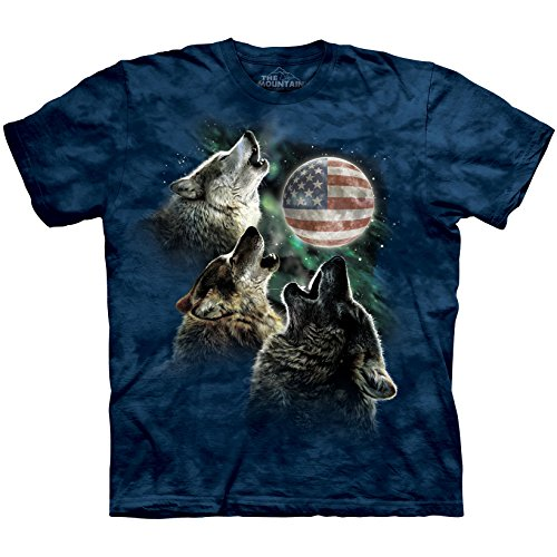 The Mountain Men's Three Wolf Flag Moon Blue L