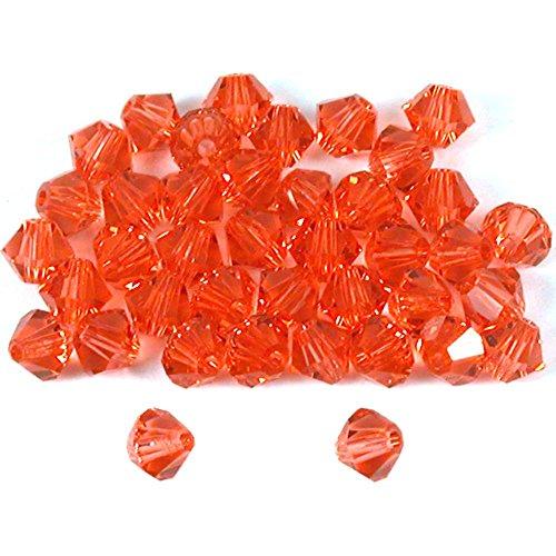 40 Padparadscha Bicone Swarovski Crystal Beads 5301 4mm