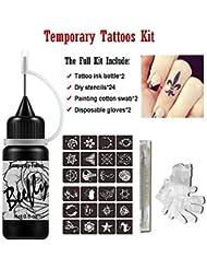 1e08686ee Jagua Temporary Tattoos Kit, Jagua Gel Indian Semi Permanent Tattoo  Freehand Gel/Ink (