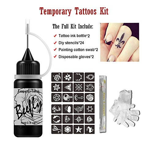 Jagua Temporary Tattoos Kit, Jagua Gel Indian Semi Permanent Tattoo Freehand Gel/Ink (Organic Jagua Fruit Based) 24 Pcs Free Stencils,DIY Tattoos Fake Freckles, Full Kit 2 Bottles(1oz) ()