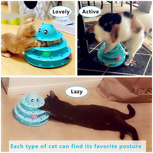 Upsky Cat Toy Roller Cat Toys 3 Level Towers Tracks Roller with Six Colorful Ball Interactive Kitten Fun Mental Physical Exercise Puzzle Toys … 7