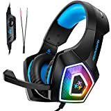 Electronics : Fuleadture Gaming Headset for PS4 Xbox One, PC Gaming Headset with Mic, Noise Cancelling Over Ear Headphones with LED Light, Bass Surround, Soft Memory Earmuffs for Laptop Mac Nintendo Switch Games
