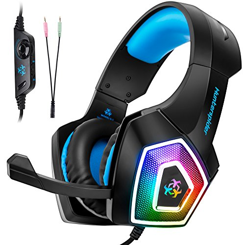 Fuleadture Gaming Headset for PS4 Xbox One, PC Gaming Headset with Mic, Noise Cancelling Over Ear Headphones with LED Light, Bass Surround, Soft Memory Earmuffs for Laptop Mac Nintendo Switch Games