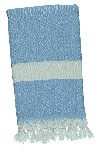 Kuru Towels - Turkish Home Towels - 100% Cotton Premium Quality Multipurpose Peshtemal- Fast Drying & Easy Storage - Great for the Bathroom, Spa, Shower, Bath, after Exercise - Diamond Sky Blue