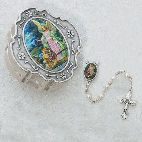 Guardian Angel Pearl Rosary with Box Baptism Christening Communion Gift
