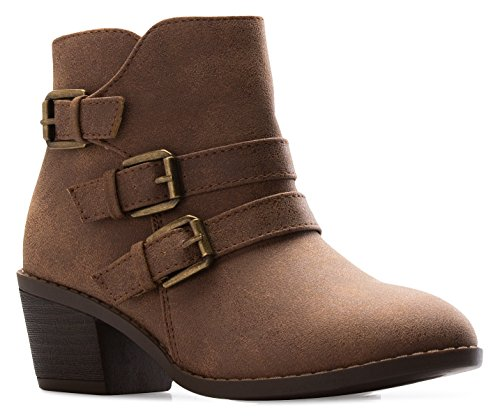 Sole Low Top Boots (OLIVIA K Girl's Western Buckle Stacked Low Kitten Heel Ankle Bootie Cut out Style)