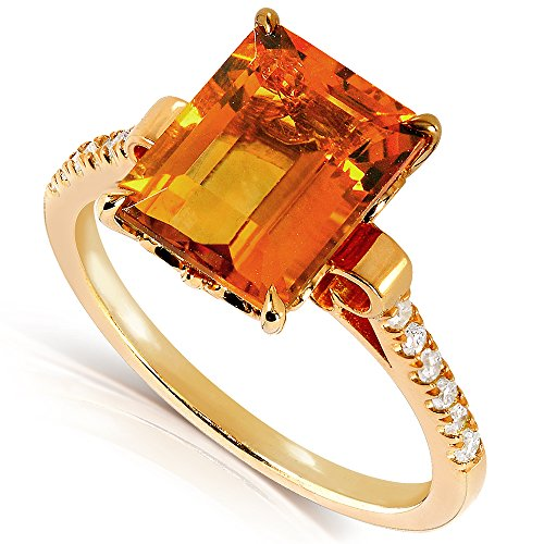 Emerald cut Orange Citrine and Diamond Ring 2 5/8 Carat (ctw) in Silver with 14K Gold Plating