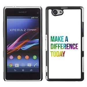 Paccase / Dura PC Caso Funda Carcasa de Protección para - BIBLE Make A Difference Today - Sony Xperia Z1 Compact D5503