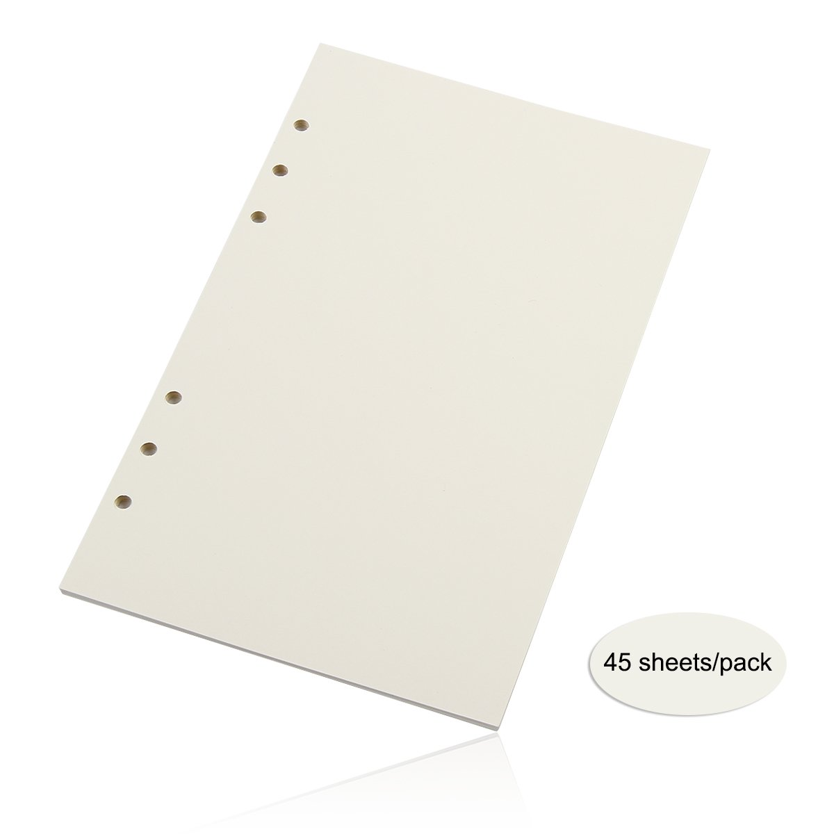 bouti1583 3 Pack of Refills Paper 6 Holes A5 8.3 X 5.6 Inches for Binder Loose Leaf Notebook, 45 Sheets/ 90 Pages Per Pack, Blank White Paper