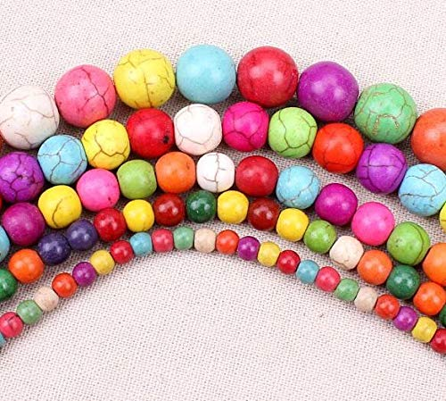 Pukido 4MM 6MM 8MM 10MM 12MM 14MM Bulk Natural Colorful Synthetic Turquoises Stone Round Spacer Loose Beads for Bracelet Jewelry Making - (Color: Multicolour, Item Diameter: 8mm 47pcs)