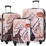 Flieks Graphic Print Luggage Set 3 Piece ABS + PC Spinner Travel Suitcase (Eiffel Tower)