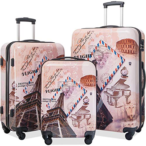 Flieks Graphic Print Luggage Set 3 Piece ABS + PC Spinner Travel Suitcase (Eiffel Tower) ()