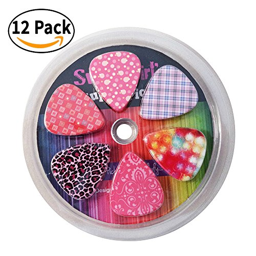 Guitar Picks For Girls   Medium Celluloid Assorted Variety 12 Pack Collection   Pretty Unique Designs Cool Pink Leopard   Best Gifts For Princess  Kids  Teens  Women  Ladies  Female Guitar Players