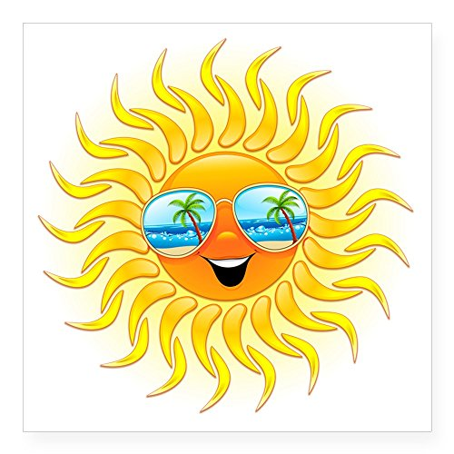 CafePress - Summer Sun Cartoon With Sunglasses Sticker - Square Bumper Sticker Car Decal, 3