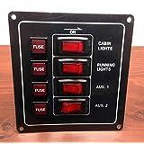 Marine Boat Black Aluminum Switch Panel IP65 12V Illuminated Switches 4x5A Fuses