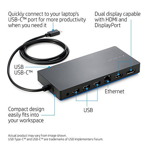 HP Dock for USB-A/C Laptops (USB-A/C to HDMI, DisplayPort, USB-C, USB-A and Ethernet) by HP (Image #1)